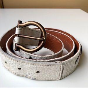 Salvatore Ferragamo white leather and canvas belt